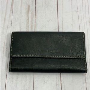 Fossil black pebbled leather folding wallet